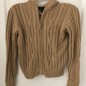 Land's End full zip cable knit sweater